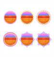 sunrise circle badge vector image vector image