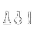 three empty flasks vector image