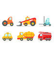 vehicles and construction machinery set tractor vector image vector image
