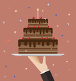 Waiter serving a chocolate cake vector image vector image