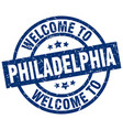 welcome to philadelphia blue stamp vector image vector image