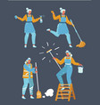 workers cleaning company vector image vector image
