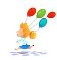 young cartoon girl colored balloons vector image