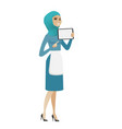 young muslim cleaner holding tablet computer vector image vector image