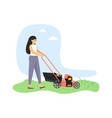 young woman gardener cutting grass with lawn vector image