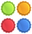 Bright icons of orange blue red and green with vector image