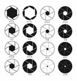 camera shutter aperture icons set monochrome vector image