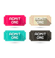 Admit One Tickets Set - Retro Isolated on Wh vector image vector image