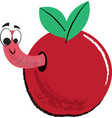 apple and worm children vector image vector image