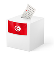 Ballot box with voting paper Tunisia vector image vector image