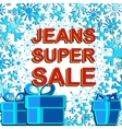 Big winter sale poster with JEANS SUPER SALE text vector image vector image