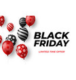 black friday sale poster with red and black vector image