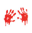 bloody hand print set isolated white background vector image