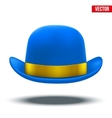 Blue bowler hat on a white background vector image vector image