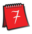 calendar sign with shadow red day week icon vector image