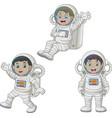 cartoon happy kids wearing astronaut costumes vector image vector image