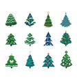 christmas tree cartoon winter holiday fir vector image vector image
