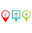 city hall silhouette pin icon multicolor pin vector image vector image