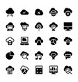 cloud computing solid icons 1 vector image vector image