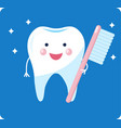 cute healthy tooth shiny cartoon tooth character vector image vector image