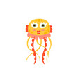cute jellyfish funny sea creature hand drawn vector image vector image