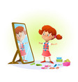 cute little girl looking in the mirror vector image