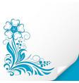 decorative flower embossed blue ornamental vector image vector image