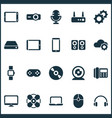 device icons set with hard drive joystick router vector image