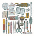 drawing accessories color set vector image vector image