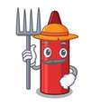 farmer red crayon isolated with mascot vector image vector image