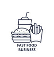 fast food business line icon concept fast food vector image vector image