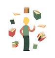 flat student man with books around vector image vector image