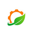 gear green leaf recycle logo vector image vector image