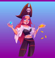 girl pirate with treasure woman captain vector image vector image