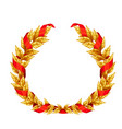golden laurel wreath with red ribbon vector image