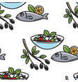 greek salad and fish olives branch greece cuisine vector image vector image