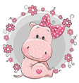 greeting card cute cartoon hippo vector image vector image