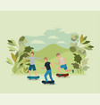 group of young men in skateboard on the park vector image vector image