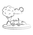 grunge sport car in the city with tree and cloud vector image vector image
