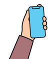 hand with cellular phone linear vector image