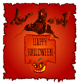 Happy Halloween haunted castle with pumpkins vector image vector image