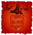 Happy Halloween haunted castle with pumpkins vector image