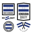 honduras quality label set for goods vector image vector image