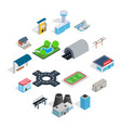 infrastructure icons set isometric 3d style vector image
