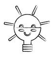 kawaii light bulb vector image vector image
