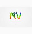 kv k v rainbow colored alphabet letter logo vector image