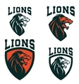 lions set emblems templates with angry vector image