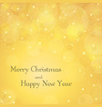 merry christmas gold background with text stars vector image vector image