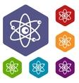 molecules atom icons set vector image vector image
