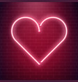 neon heart sign red fluorescent light vector image vector image